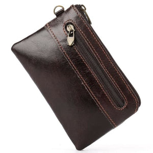 Retro Authentic Leather Pouch Wrist Wallet Coin Purse Brown Premium Leather