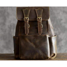 Load image into Gallery viewer, Rustic Leather Crazy Horse Travel Backpack Premium Leather