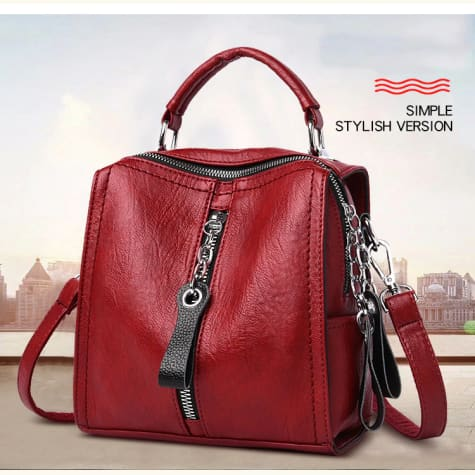 Sac a Dos Leather Backpack/ School Bag for Girls and Women Winered Premium Leather