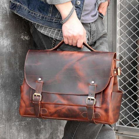 Saddle Leather Men's Vintage Messenger/shoulder Bag Premium Leather
