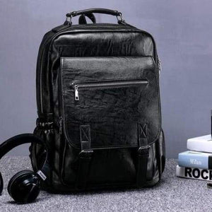 Sales Person's True Leather Business & Travel/laptop Backpack 7220-01 Black Premium Leather