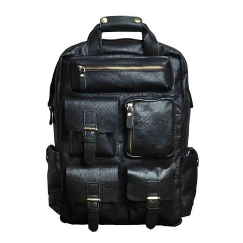 Seven Pocket Leather Backpck & Travel Bag Black Premium Leather