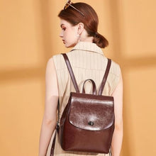 Load image into Gallery viewer, Shades of Grey Authentic Leather Crossbody Backpack Coffee