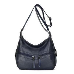 Sheepskin Designer Double Zipper Crossbody Bag Dark Blue Premium Leather
