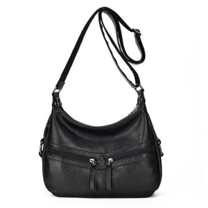 Sheepskin Designer Double Zipper Crossbody Bag Black Premium Leather