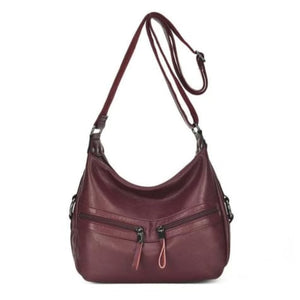 Sheepskin Designer Double Zipper Crossbody Bag Red Wine Premium Leather