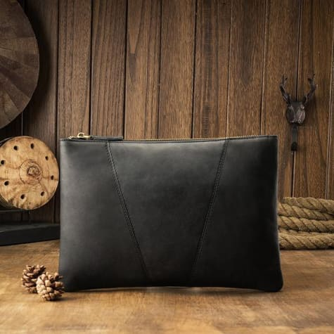Silky Leather Envelope Clutch/wrist Bag Premium Leather