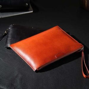 Simple Leather Clutch & Designer Wrist Bag Brown Premium Leather