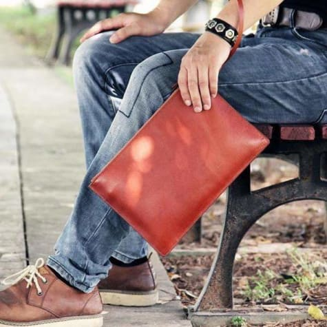 Simple Leather Clutch & Designer Wrist Bag