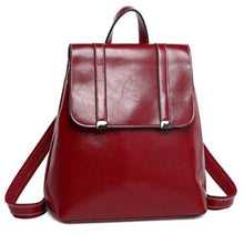 Load image into Gallery viewer, Steer Hide Leather Oil Waxed Crossbody Backpack & Shoulder Bag Red Premium Leather