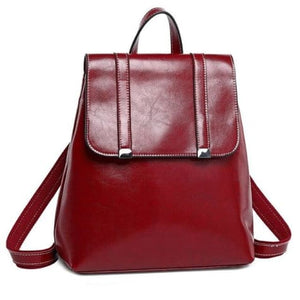 Steer Hide Leather Oil Waxed Crossbody Backpack & Shoulder Bag Red Premium Leather