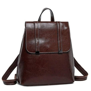 Steer Hide Leather Oil Waxed Crossbody Backpack & Shoulder Bag Coffee Premium Leather