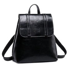 Load image into Gallery viewer, Steer Hide Leather Oil Waxed Crossbody Backpack & Shoulder Bag Black Premium Leather