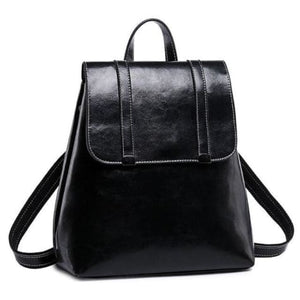 Steer Hide Leather Oil Waxed Crossbody Backpack & Shoulder Bag Black Premium Leather