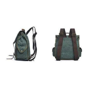 Strapped Canvas Backpack & Travel Bag W/waterproof/waxed Cayan Premium Leather