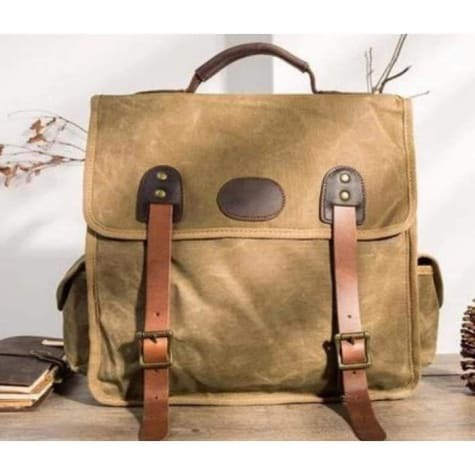 Strapped Canvas Backpack & Travel Bag W/waterproof/waxed Khaki Premium Leather