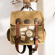 Load image into Gallery viewer, Strapped Canvas Backpack & Travel Bag W/waterproof/waxed Premium Leather