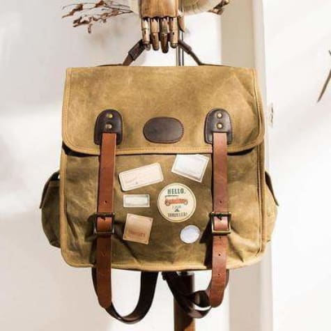 Strapped Canvas Backpack & Travel Bag W/waterproof/waxed Premium Leather