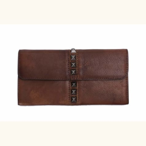 Studded Natural full Grain Leather Wallet & Long Purse Premium Leather