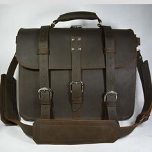 Load image into Gallery viewer, Thick Crazy Horse Leather Briefcase/messenger Bag Small Dark Brown Premium Leather