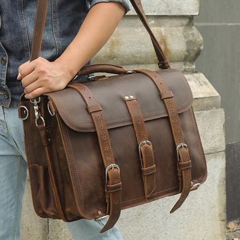 Thick Crazy Horse Leather Briefcase/messenger Bag Brown Premium Leather