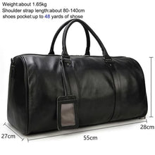 Load image into Gallery viewer, Top Grain Calf Leather Large Capacity Travel Bag Premium Leather