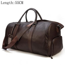 Load image into Gallery viewer, Top Grain Calf Leather Large Capacity Travel Bag Brown Premium Leather