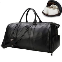 Load image into Gallery viewer, Top Grain Calf Leather Large Capacity Travel Bag Black Premium Leather