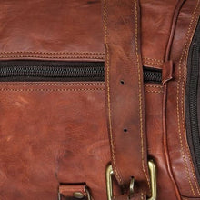 Load image into Gallery viewer, Top Grain Leather Sports Travel Duffel and Gym Bag Premium Leather