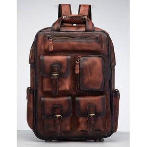 Toute E'preuve Leather Travel/college Backpack Burgundy Premium Leather