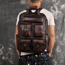 Load image into Gallery viewer, Toute E'preuve Leather Travel/college Backpack Dark Coffee Premium Leather