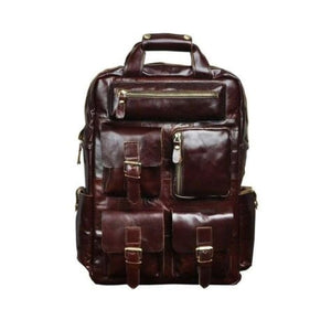Toute E'preuve Leather Travel/college Backpack Coffee Premium Leather