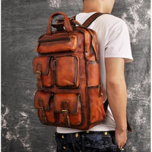 Load image into Gallery viewer, Toute E'preuve Leather Travel/college Backpack Orange Premium Leather