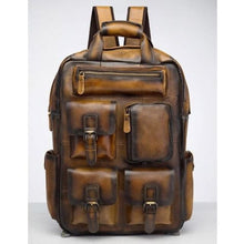 Load image into Gallery viewer, Toute E'preuve Leather Travel/college Backpack Light Brown Premium Leather