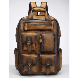Toute E'preuve Leather Travel/college Backpack Light Brown Premium Leather