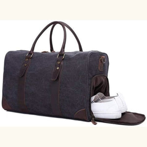 Travel Bag Canvas/leather Carry On With Shoe Compartment