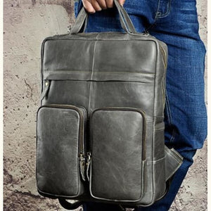 `tricolore full Grain Leather Backpack/travel Bag Grey Premium Leather