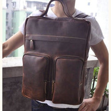 Load image into Gallery viewer, `tricolore full Grain Leather Backpack/travel Bag Brown Premium Leather