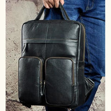 Load image into Gallery viewer, `tricolore full Grain Leather Backpack/travel Bag Black Premium Leather
