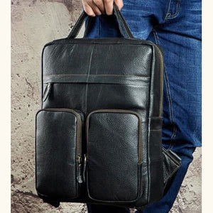 `tricolore full Grain Leather Backpack/travel Bag Black Premium Leather