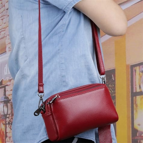 True Leather Ladies Small Square Casual Messenger Handbag Red Premium Leather