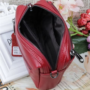 True Leather Ladies Small Square Casual Messenger Handbag Premium Leather