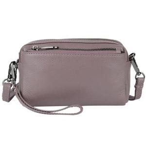 True Leather Ladies Small Square Casual Messenger Handbag Purple Premium Leather