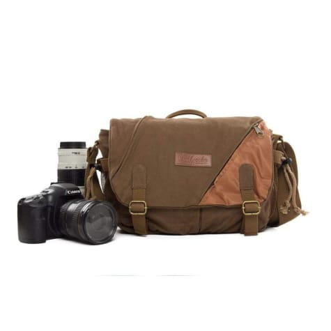 Two Tone Waxed Canvas Dslr Camera Bag Messenger Coffee Premium Leather