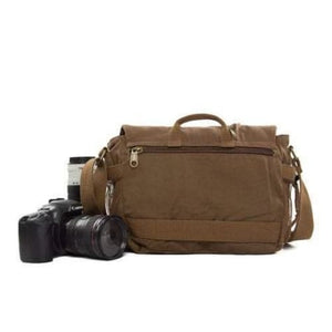 Two Tone Waxed Canvas Dslr Camera Bag Messenger Premium Leather