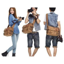 Load image into Gallery viewer, Two Tone Waxed Canvas Dslr Camera Bag Messenger Premium Leather