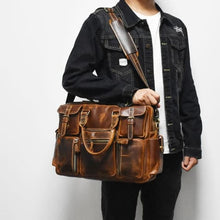 Load image into Gallery viewer, University Leather Travel/laptop/messenger Bag Premium Leather