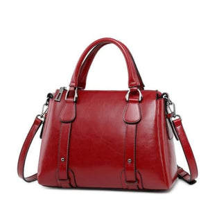 Vegan Oil Waxed Leather Casual Shoulder Crossbody Bag Red