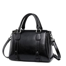 Load image into Gallery viewer, Vegan Oil Waxed Leather Casual Shoulder Crossbody Bag Black