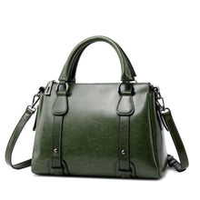 Load image into Gallery viewer, Vegan Oil Waxed Leather Casual Shoulder Crossbody Bag Green